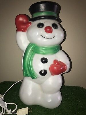 """Vintage Christmas Empire 18"""" Lighted Blow Mold Snowman With Top Hat"""