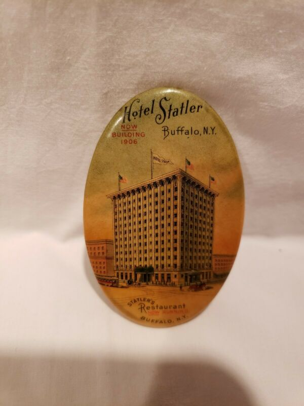 Antique Advertising Celluloid Pocket Mirror, Hotel Statler, Buffalo, New York