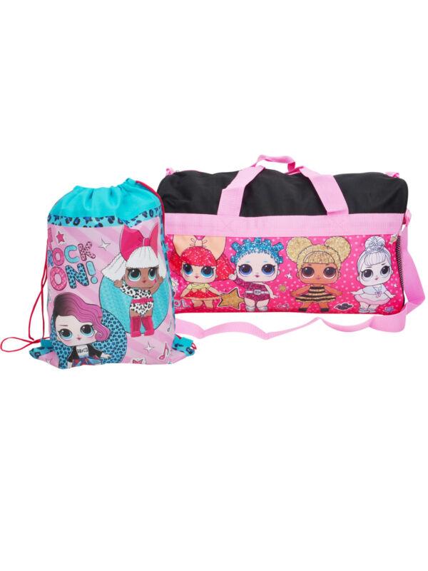 Girls LOL Surprise Duffel Bag Black & Sling Bag 2-Piece