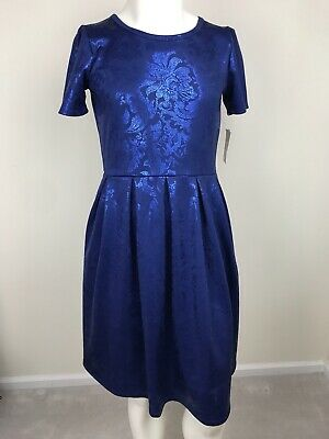 NWT Women's Dress Size L LulaRoe Blue Scuba Fabric Floral Print Zip Short Sleeve Short Sleeve Printed Zip