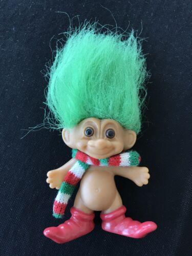 Russ Troll Doll Christmas Elf Green Hair Red Boots Scarf 3  - $6.99