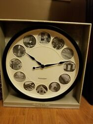 Sterling & Noble Large 15 Photo Frame Wall Clock Matte Black Round