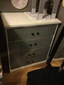 Grey and white small dresser