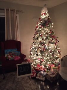 Gorgeous prelit, frosted Christmas tree