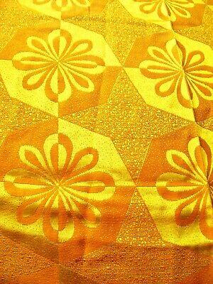 Vintage 1960's / '70's MCM Orange Yellow Flower Power Shiny Fabric / Curtain