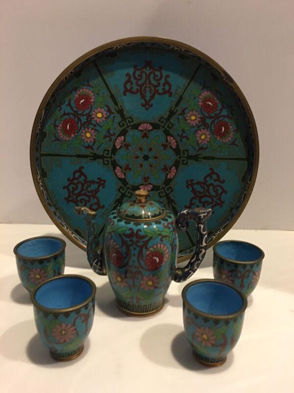 Antique Cloisonne Wine Pot 4 Cups & Tray ! EUC