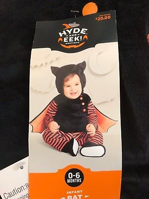 NEW Infant plush BAT Halloween costume outfit black orange Sz 0-6 MO by - Halloween Outfits Target