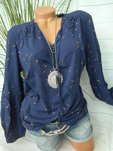 Esprit Bluse Damen Shirt EDC Gr. 34 bis 44 gemustert blau (430) NEU