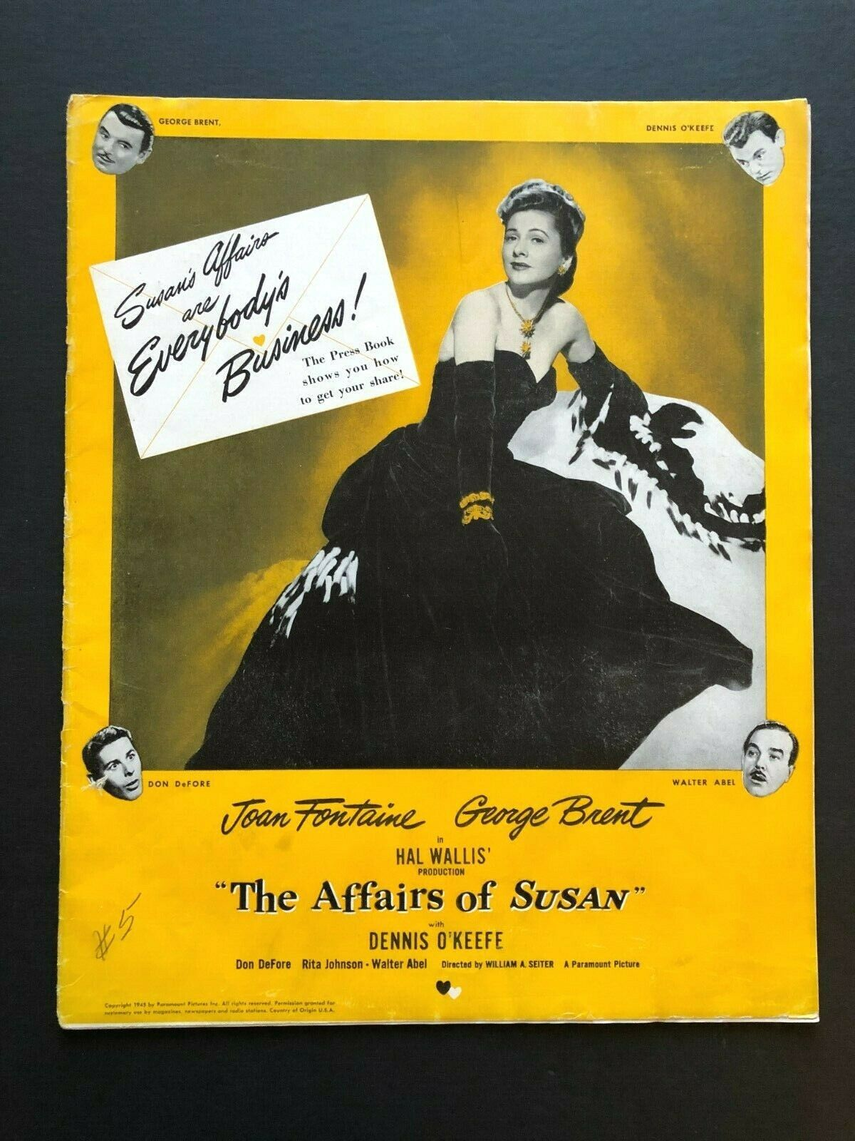 "The Affairs of Susan Original Movie Pressbook (1945) 47 Pages 12"" x 15"" EX"