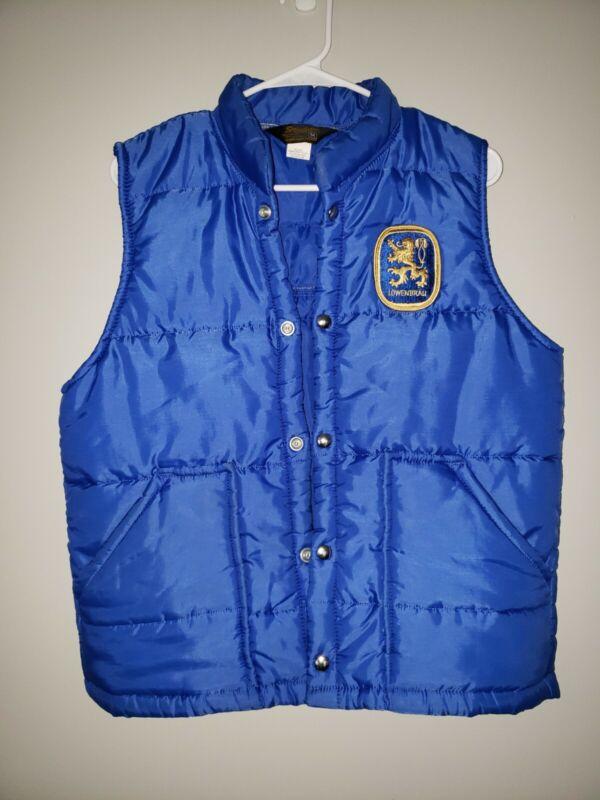 Vintage Rare Swingster Men's Puffer Vest Blue Size Medium Beer Lowenbrau Patch