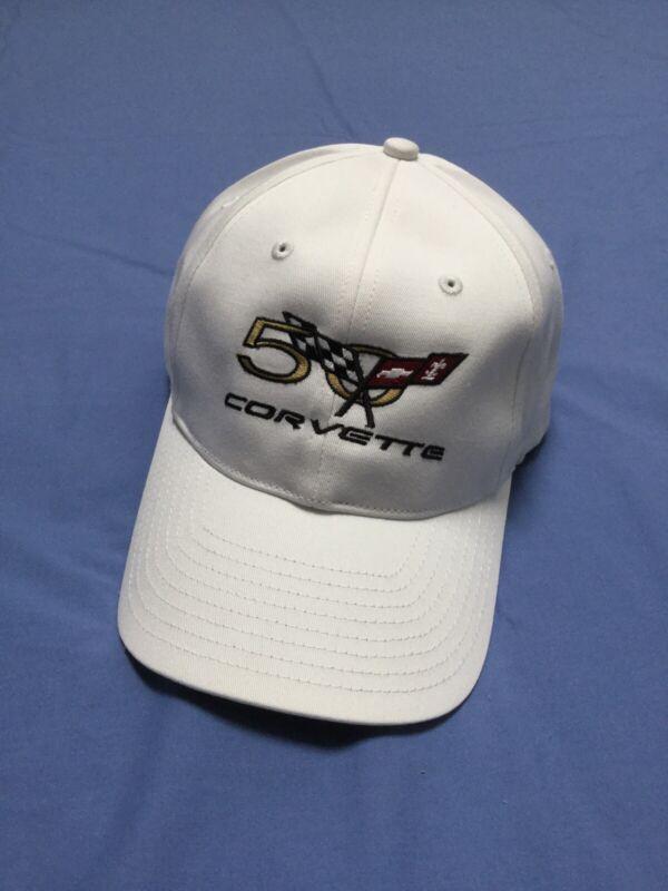Nike 50th Anniversary Corvette Cap. New White Cotton Adjustable