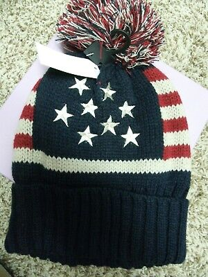 American Flag Winter Hat Fitted NWT