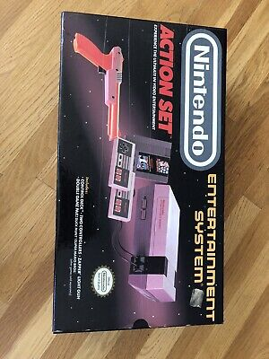 Nintendo NES | Action Set | Gray Console in Box | Zapper | 2 Controllers | Game
