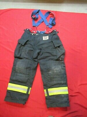 Morning Pride Fire Fighter Turnout Pants 34 X 28 Black Bunker Gear Suspenders