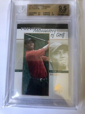 TIGER WOODS SP Authentic Preview 2001 Upper Deck Golf RC BGS 9.5 Masters Nike