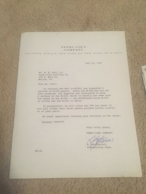 VINTAGE LETTER LETTERHEAD ORIGINAL PEPSI  COLA 1960 JULY 22 CARTONS PANELS