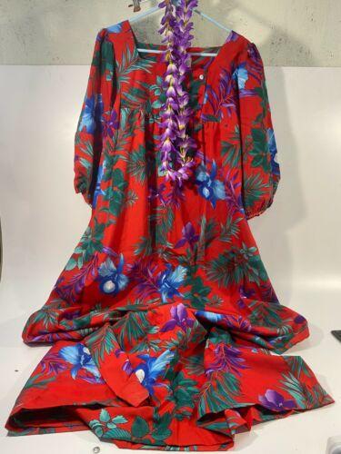 Red Hilo Hatties Hawaii Blue/Purple Flower Dress Size 2XL Vintage