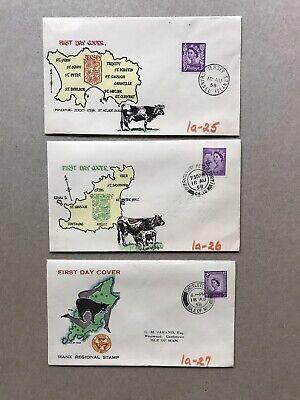 GB 1958 FDC +QEII Machin Regional=Jersey/Isle of Man/Guernsey +Map&Emblem Cachet