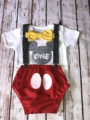 Baby Boy 1st Birthday Cake Smash Prop Outfit Mickey Mouse Handmade - Baby Mickey Mouse First Birthday