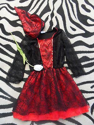 Spinne Tüll Chiffon Hexenkleid Gr. 128/134 (8 - 9) rot schwarz Samt Hut (Chiffon Samt Kostüm)