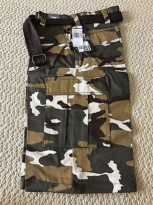 NWT Men's Regal Wear Urban Brown Camouflage Camo Belted Cargo Shorts ALL (Wear Camo Shorts)