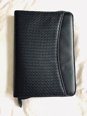 Day-timer Classic Planner Black Faux Leather Woven Binder Organizer 7-ring Zip