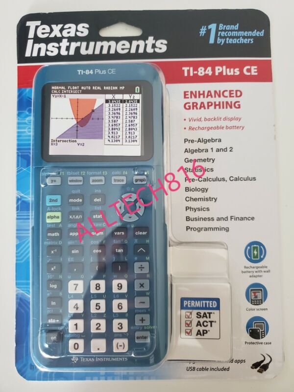 Texas Instruments TI-84 Plus CE Graphing Calculator - Teal Color - Brand New!