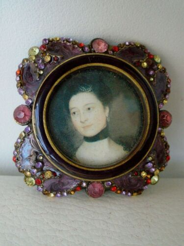 Vintage jeweled metal picture frame small 2x2 Victorian lady easel