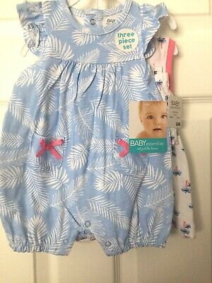 Baby Essentials 3 Piece Set Romper/ Dress  Set, 6 month.  NWT for sale  Shipping to India