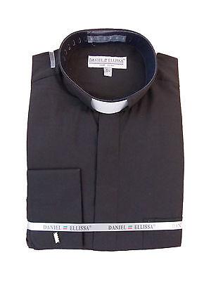 Mens Clergy Tab Collar Long Sleeve Dress Shirt Black Frenchcuff Pastor Preacher