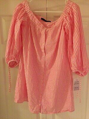 NEW Zara Trafaluc Collection Pink/White Crinkle Crop Top Medium M