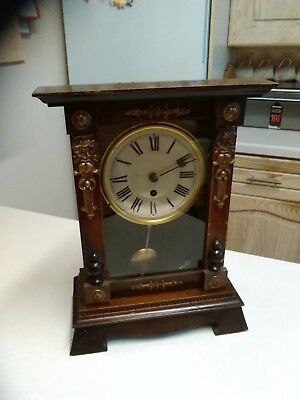 Antique Stained Pine Cased German 'Baduf' Mantle Clock - Working - No Key (1490)