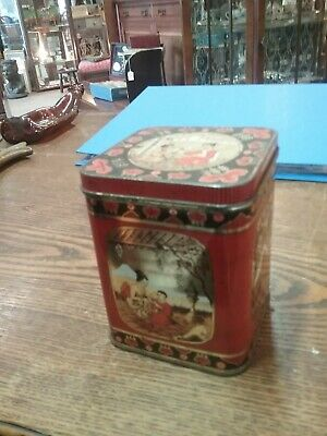 Vintage Antique Metal Overlay Tea Caddy Box With Hinged Lid