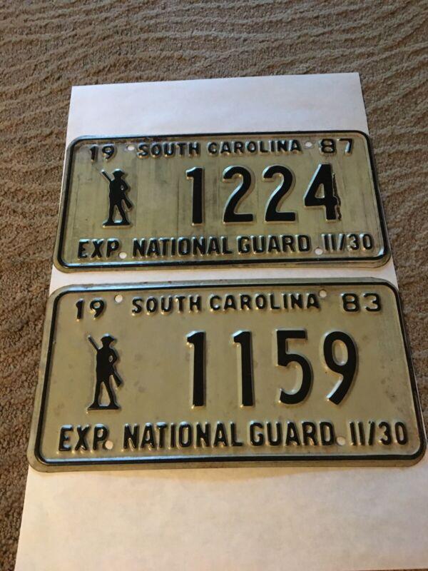 2 Vintage South Carolina National Guard License Plates (1983 & 1987)