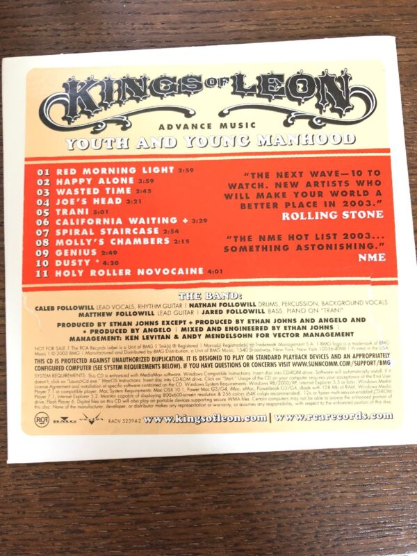 KINGS OF LEON Youth and Young Manhood Promo Advance CD