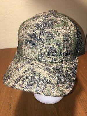 FILSON Wool Camo Logger Mesh Cap / Hunting Hat • Camouflage & Otter Green • NWT Mesh Wool Cap