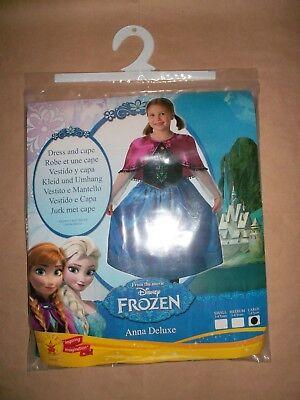 Disney Frozen Anna Deluxe Kostüm Kleid Cape Fasching Prinzessin L 7-8 Jahre NEU ()