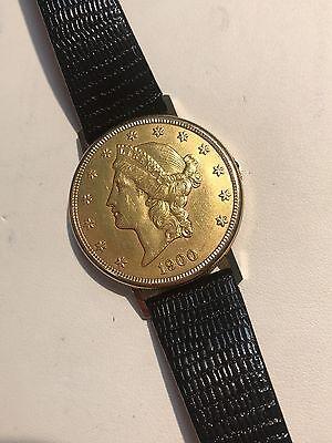 Merano $20 1900 Liberty Head  Gold Coin Watch 18k case