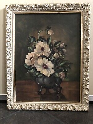- Vintage 1930s Shabby Chic Signed Corintess Fichy Framed Floral Arrangement Art!