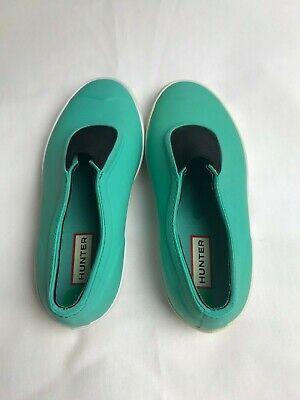 Hunter Boots Plimsole Turquoise Slip Ons Flats Shoes UK 4 US 6  (Hunter Boots Flats)