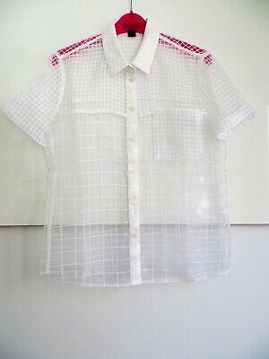 "J Crew White transparent ""Window Pane"" Shirt Summer Size 10 Great Condition"