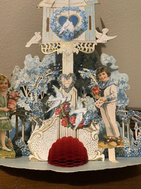 Large Antique Victorian era German pop-up Valentine