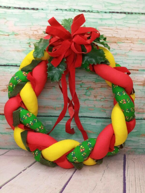 Vintage Handmade ❤ Braided Stuffed Fabric Christmas Wreath  Country Farmhouse