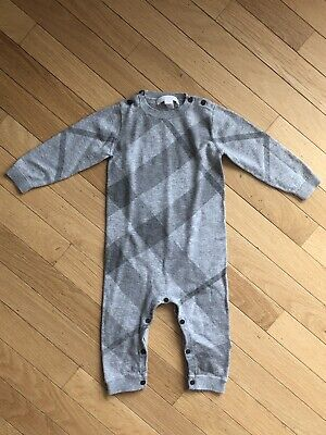 Burberry Baby One Piece Cashmere blend - Grey check pattern