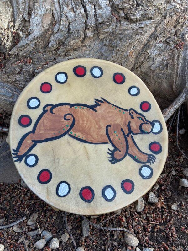 """Native American drum 12"""" Painted Bear Hand drum indian Cherokee Native Drum"""