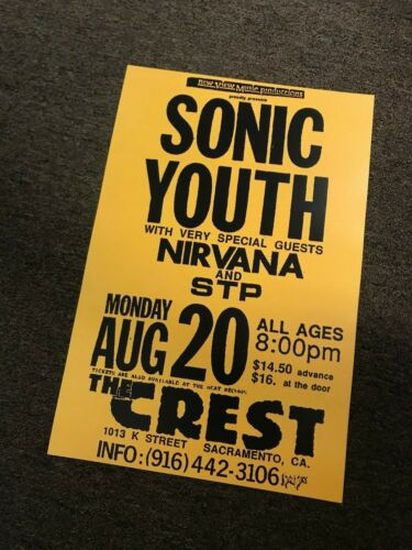 "Sonic Youth Nirvana STP Sacramento 1991 Cardstock Concert Poster - 12"" x 18"""