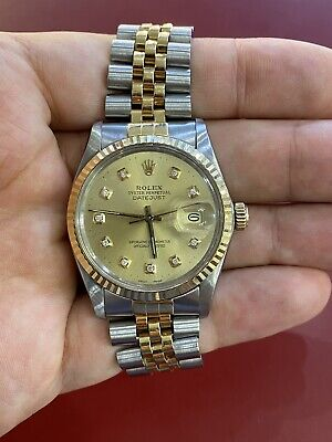 Ref 16013 Datejust Rolex Stainless & 18K Gold 36mm Automatic 1984