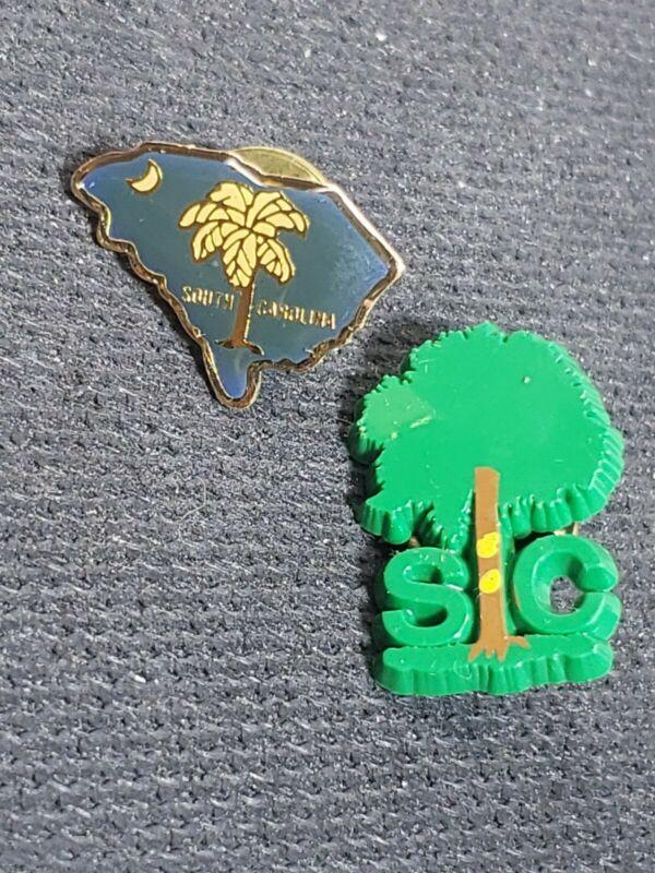 2x State of South Carolina Tourist Travel Souvenir Collector Pin