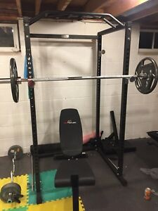 Home gym squat rack free weights
