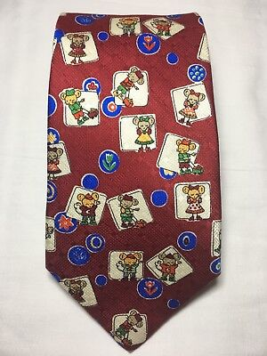 Renato Balestra Mens 100% Silk Neck Tie Red Little Girl & Boy Mouse Novelty - Boys Novelty Ties